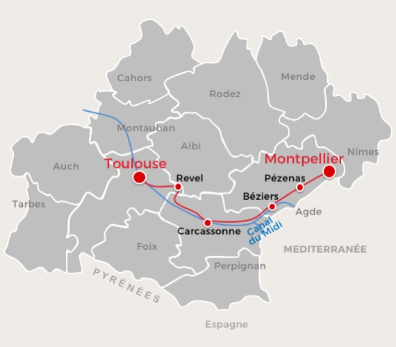 Road-trip Toulouse à Montpellier, carte itinéraire