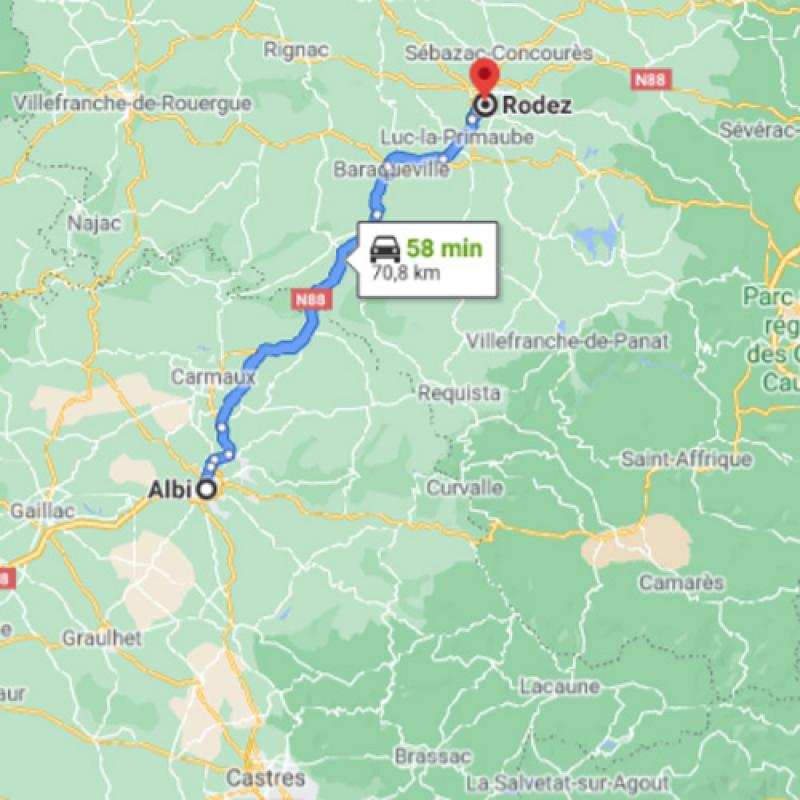 Albi vers Rodez