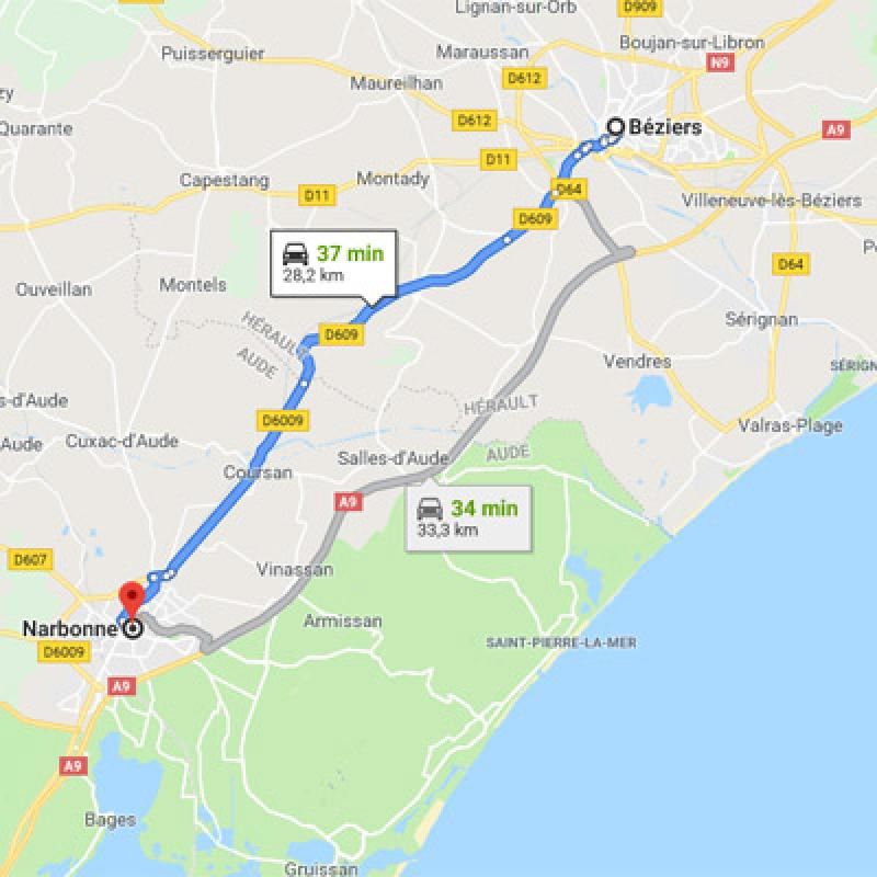 De Béziers vers Narbonne