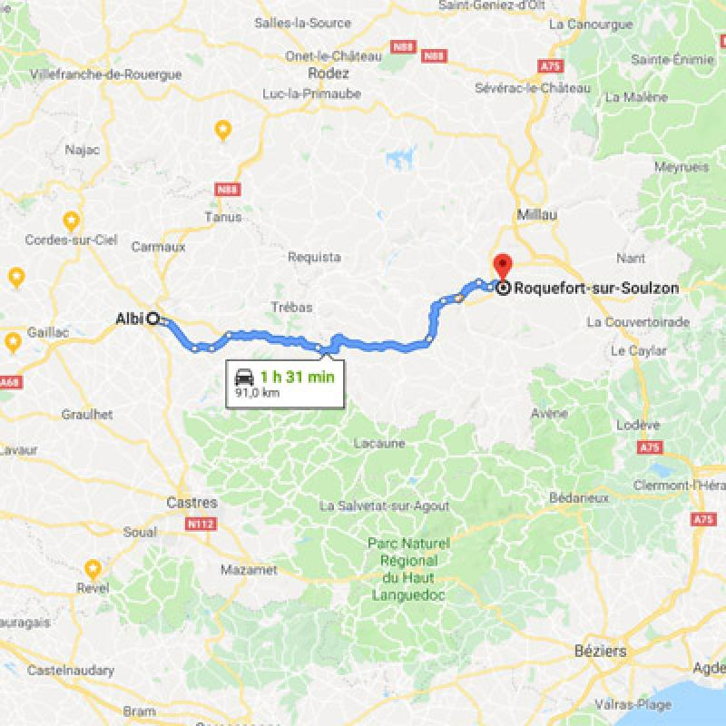 De Albi vers Roquefort