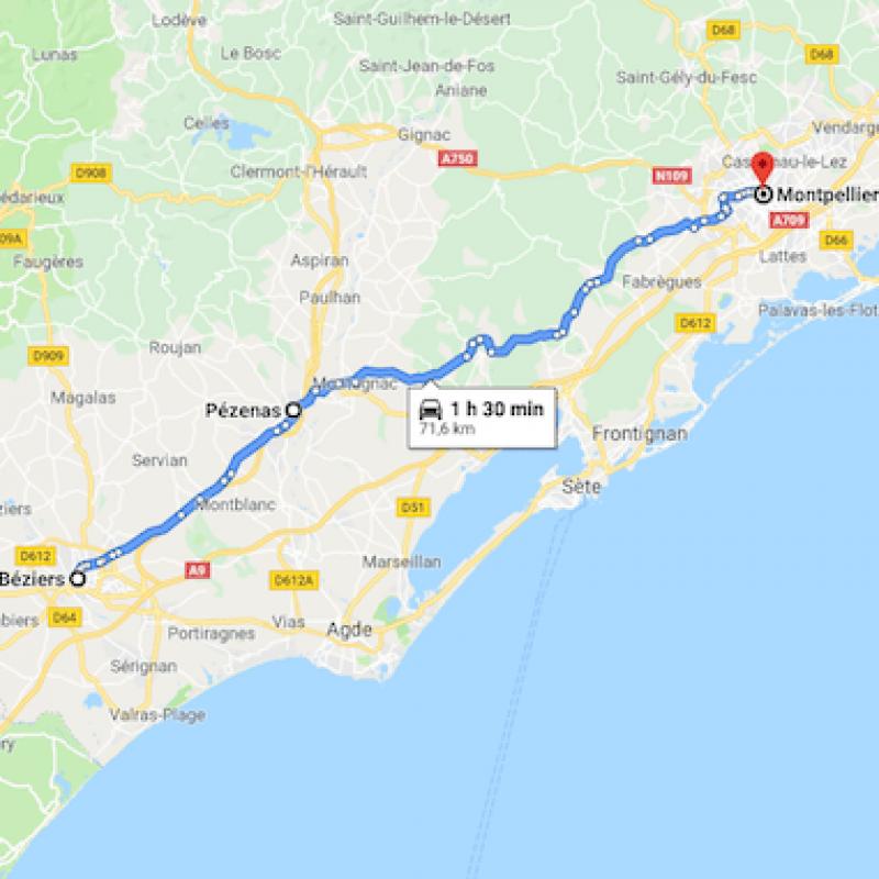 De Beziers vers Montpellier