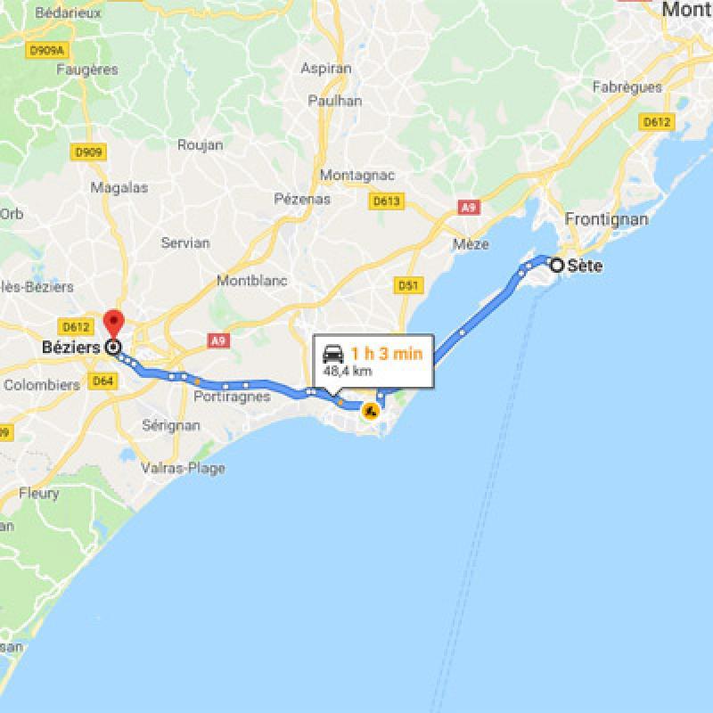 De Sète vers Béziers